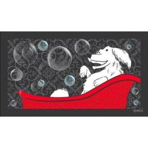 Happy Dog In A Tub Bathing Mat by Dog Fashion Spa