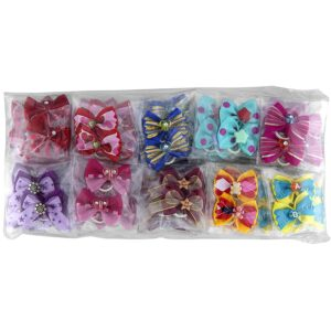 groom professional assorted multicolor bow for groomers pack
